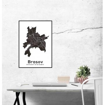 Poster harta Brasov contur