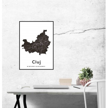 Poster harta Cluj contur