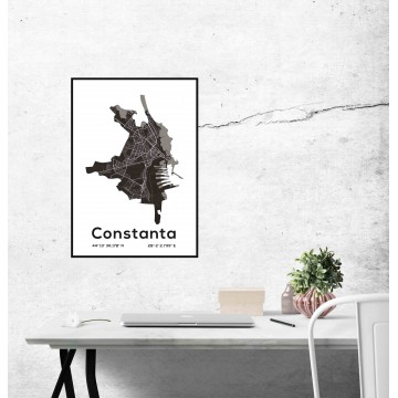 Poster harta Constanta contur