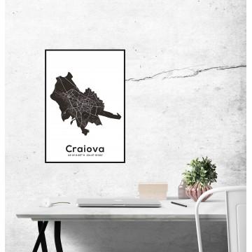 Poster harta Craiova contur