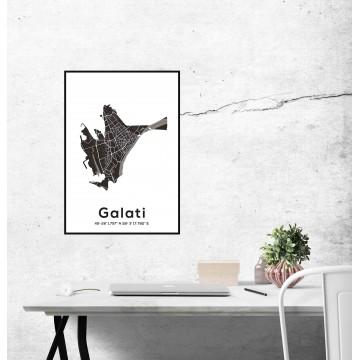 Poster harta Galati contur