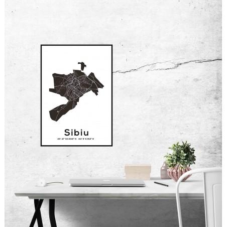 Poster harta Sibiu contur