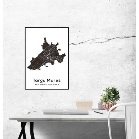 Poster harta Targu Mures contur