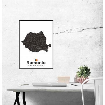 Poster harta Romania alb negru