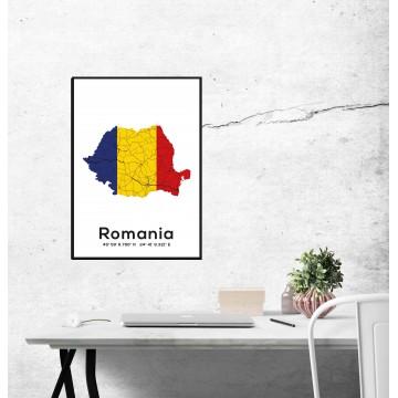 Poster harta Romania tricolor